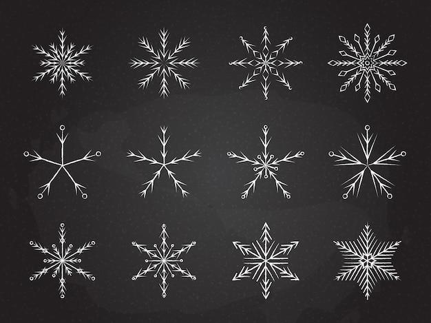 Замороженные снежинки символ коллекции векторные иллюстрации. мел стиль линии белые снежинки изолированные