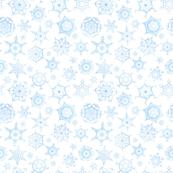 Frozen snowflakes on white background, winter seamless pattern