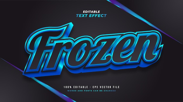 Frozen text in black and blue with 3d embossed and glossy effect. editable text style effect