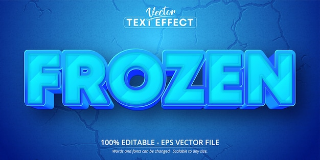 Frozen text, cartoon style editable text effect
