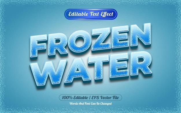 냉동 물 편집 가능한 텍스트 효과 만화 스타일