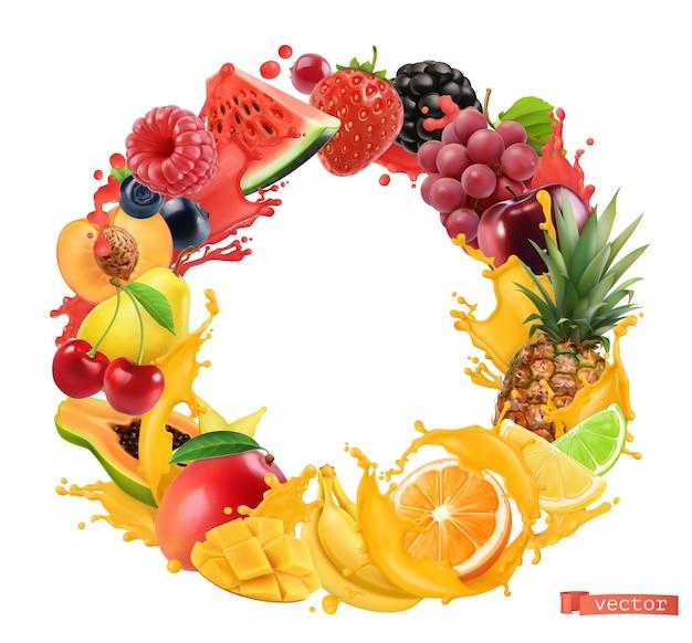 フルーツとベリーのサークルフレーム。ジュースのスプラッシュ。 3dベクトルのリアルなオブジェクト。スイカ、バナナ、パイナップル、イチゴ、オレンジ、マンゴー、ブドウ