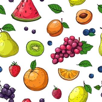 フルーツとベリーのシームレスなパターン。オレンジとブドウ、キウイ梨、スイカとイチゴ、ラズベリーの桃の果実の壁紙