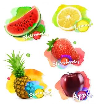 Фрукты и ягоды акварель, векторная иллюстрация набор
