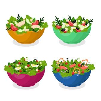 Коллекция фруктов и салатниц