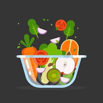 과일 및 샐러드 그릇 개념