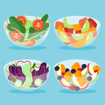 Набор фруктов и салатниц