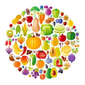 Фрукты и овощи круг с набором иконок органических продуктов питания. здоровый дизайн колес. тыква, банан, манго, яблоко, лук, чеснок, гранат, помидор и многое другое.