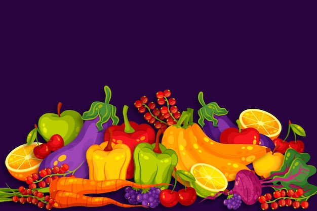 背景の果物と野菜のコンセプト