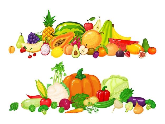 Груды фруктов и овощей яблоко киви черри яблоко перец помидор тыква морковь капуста набор Premium векторы