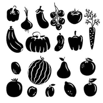 果物と野菜のセットアイコン、白い背景で隔離のロゴ