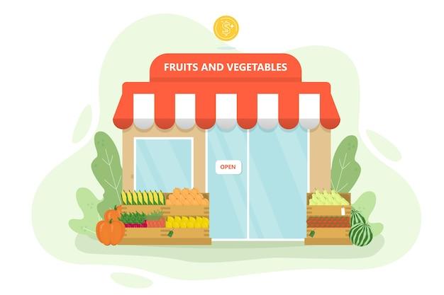 Магазин овощей и фруктов. зеленый рынок с витриной