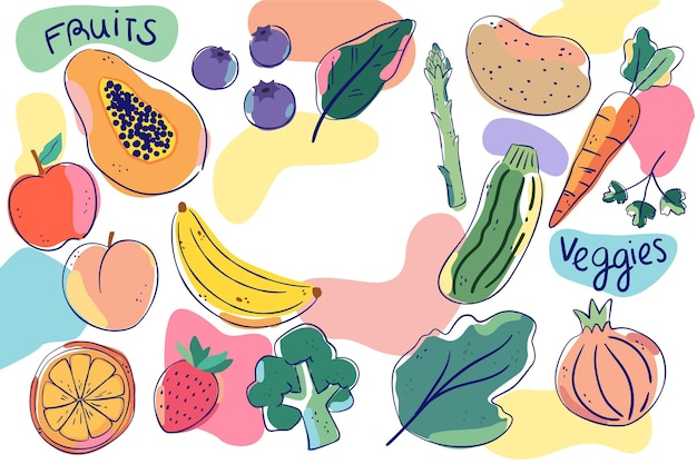 果物と野菜の背景スタイル