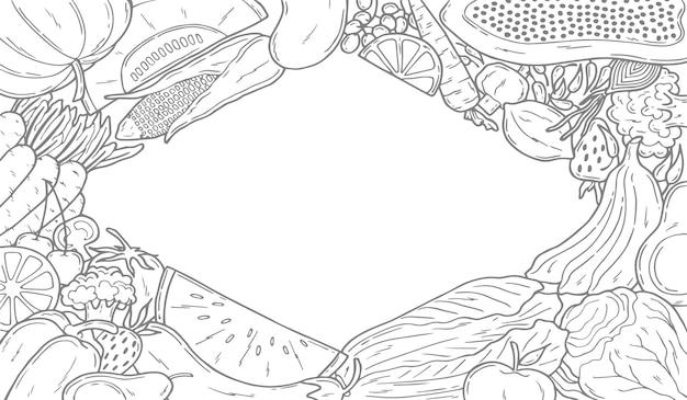 빈 공간이 있는 과일과 야채 배경
