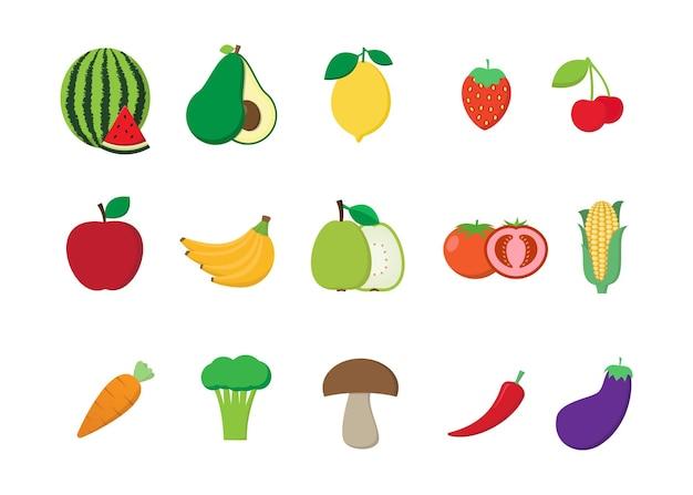 Фрукты и овощи свежие на белом