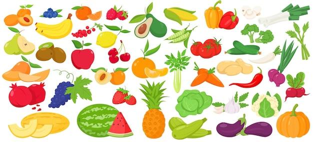 Набор иконок фруктов и овощей