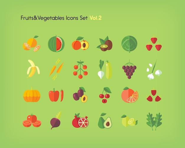 Набор иконок фруктов и овощей. иллюстрации.