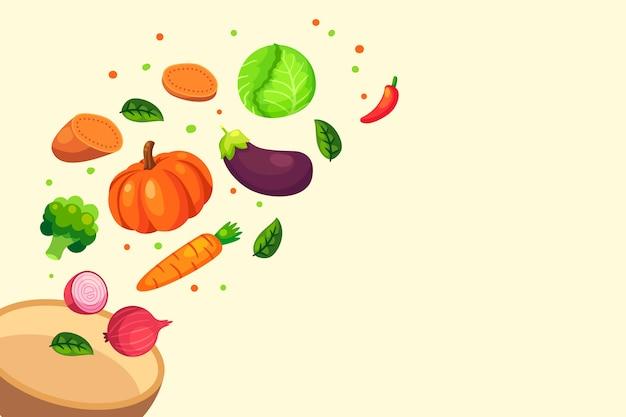 背景に分離された果物と野菜