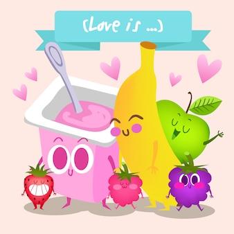 Fruit and yogurt background