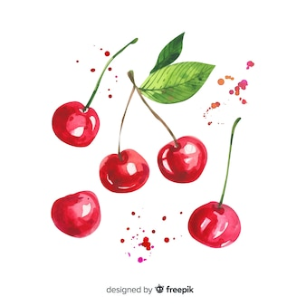 Fruit background with watercolor cherry