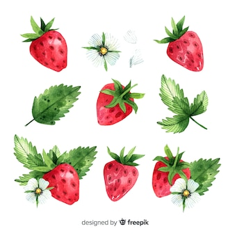 Fruit background with watercolor strawberry