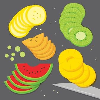 Fruit banana grape kiwi pineapple watermelon piece slice