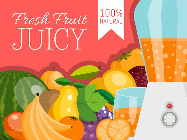 Fruit banner for fresh product or fruit farm market. organic and natural food.
