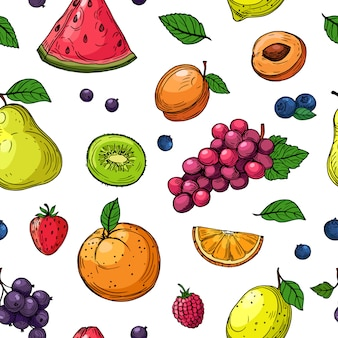 Fruit and berries seamless pattern. orange and grapes, kiwi pear, watermelon and strawberry, raspberry peach fruit  wallpaper