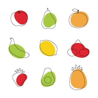 Fruit and berries in the style of doodle. a linear drawing with healthy fruits.