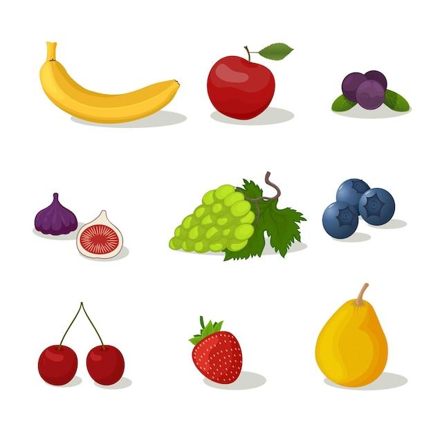 フルーツベリーアイコンセット。梨、イチゴ、バナナ、ブドウ、リンゴ、さくらんぼ新鮮な農場の健康食品。子供のための教育カードフラットデザイン白い背景分離ベクトル図
