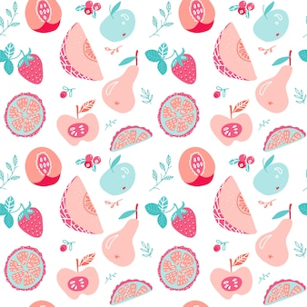 Fruit and berry tea seamless pattern.