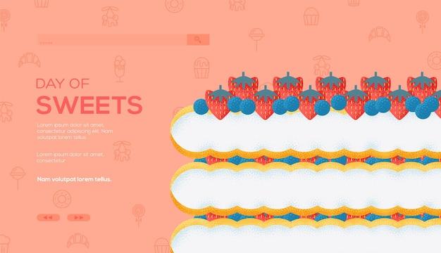 과일 케이크 개념 전단지, 웹 배너, ui 헤더, 사이트를 입력합니다. 곡물 질감 및 노이즈 효과.