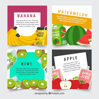 Fruit card collection with flat design
