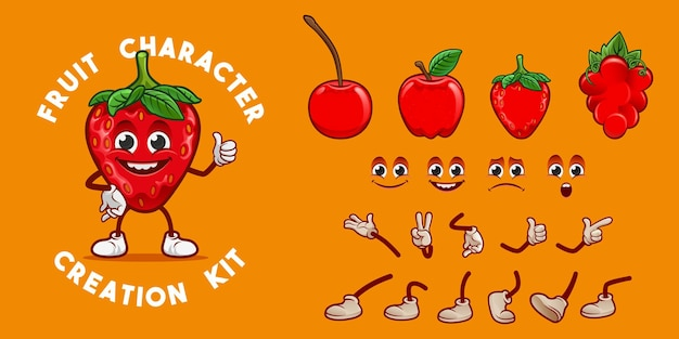 フルーツキャラクター作成キット赤版