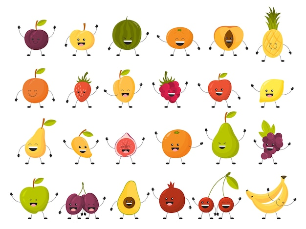 Fruit character set. collection of funny food with face