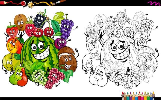 フルーツキャラクターのページを着色