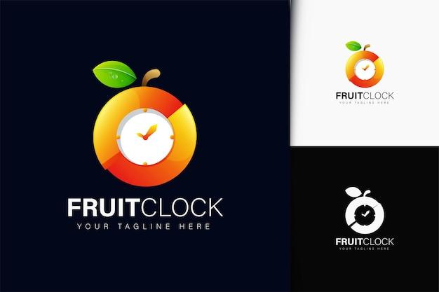 グラデーションのフルーツ時計のロゴデザイン