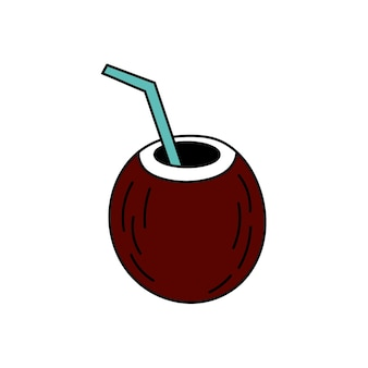 Fruit cocktail in cocount in doodle style. simple illustration. summer icon