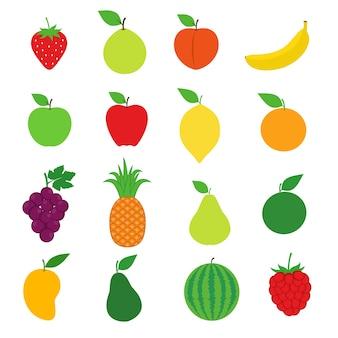 Набор векторных изображений для коллекции фруктов