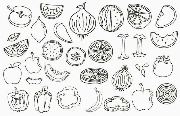 Fruit collection logo with apple,onion,lemon,cucumber.vector illustration for icon,logo,sticker,printable and tattoo