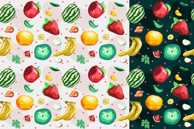 フルーツコレクションシームレスパターンベクトルデザイン