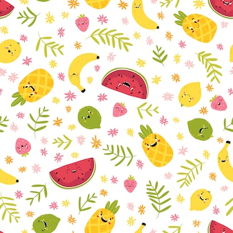 Fruit creative seamless pattern. funny tropical characters with happy faces in flowers and palm leaves. cartoon in hand drawn scandinavian style. watermelon pineapple lemon lime strawberry