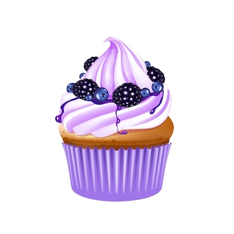 Fruit cupcake realistic illustration