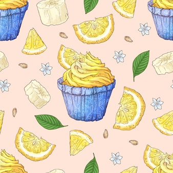 Fruit cupcake seamless pattern.