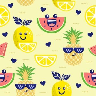 Fruit cute seamless pattern