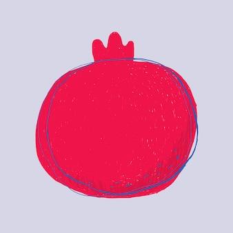 Fruit doodle pomegranate logo  hand drawn