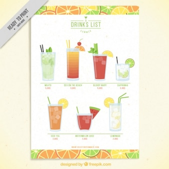 Fruit drink list template