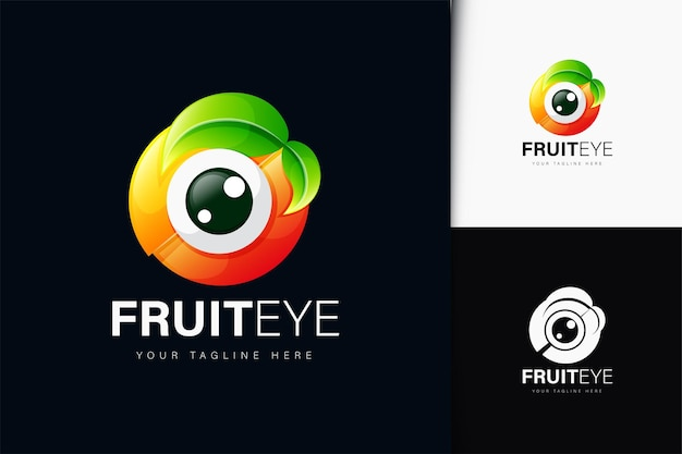 그라디언트가 있는 과일 눈 로고 디자인
