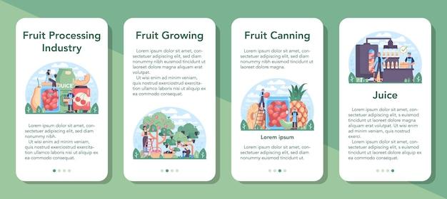 果物の農業と加工業界のモバイルアプリケーションバナーセット