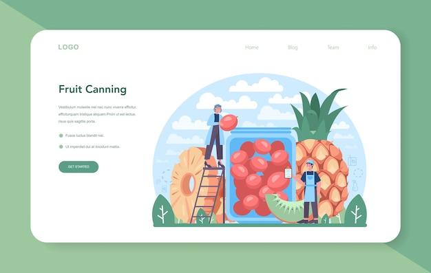 과일 농업 및 가공 산업 웹 배너 또는 방문 페이지. 농업 및 재배에 대한 아이디어입니다. 말린 과일, 주스 및 통조림 과일 생산. 격리 된 평면 벡터 일러스트 레이 션